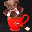 Valentine's Day Russ Mugs-N-Hugs 'I Love You' Red Mug with Brown Plush Bear