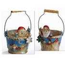 Hand-painted Yuletide Charm Porcelain Santa and Snowman Planter Set