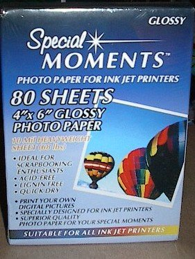 Special Moments Inkjet 4 inch by 6 inch Glossy Photo Paper 80 sheets