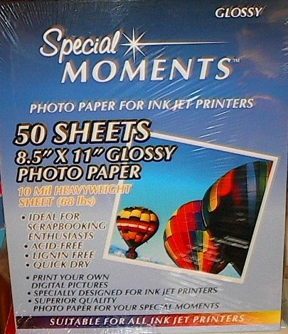 Special Moments Inkjet 8.5 inch by 11 inch Glossy Photo Paper 50 sheets