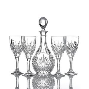 Dublin by Godinger Fine Crystal Wine Decanter Set with 4 Glasses