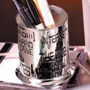Godinger Silver Plated Computer Internet Themed Pencil Holder