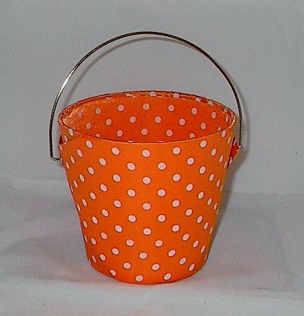 Fabric Orange and White Polka Dot Flower Basket Pot Cover with Handle