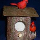 Decorative Christmas Cardinals on a Wall Mountable Bird House
