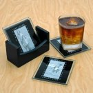 Melannco Set of 4 Live, Laugh, Love Glass Photo Coasters
