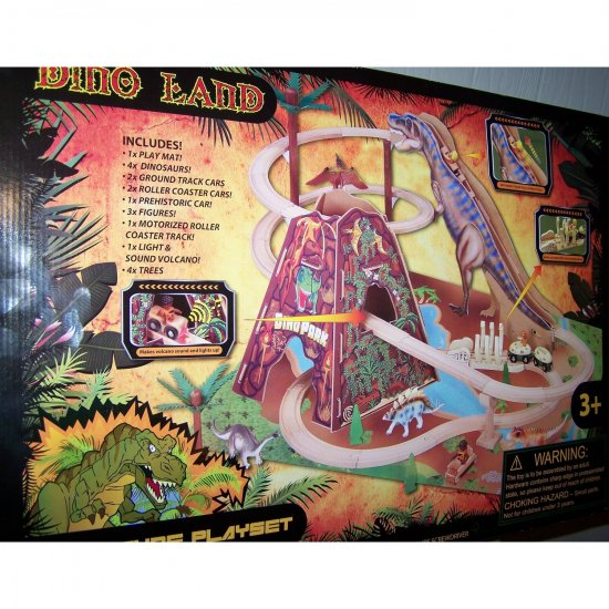 Dino Land Adventure Play Set Train Roller Coaster with Dinosaurs