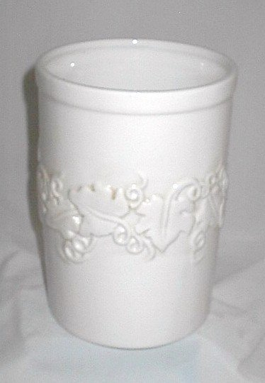 8 inch Ceramic Etched Wine Chiller with Grapes Vines & Leaves