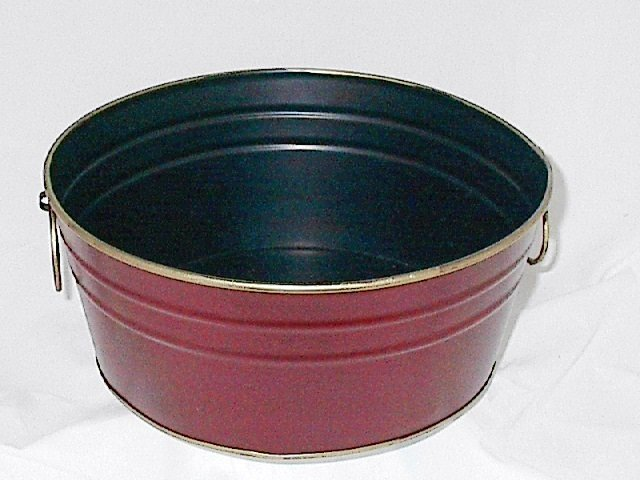 Rich Burgundy 10.5 Inch Round Metal Planter / Container / Pot