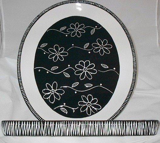 Ganz Bella Casa 17 inch Ceramic Platter & Cracker Dish Server Set