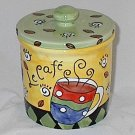 5.25 Inch Unique Hand-painted Le Cafe Coffee Canister