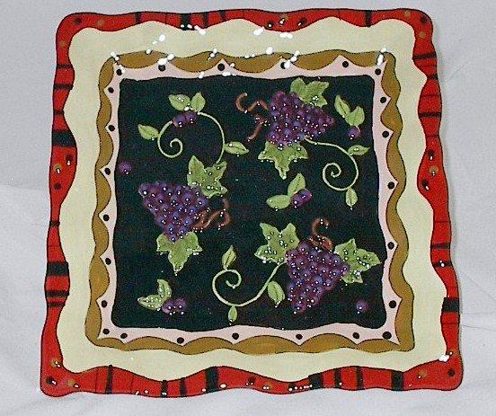 12 Inch Square Bella Casa Ceramic Serving Tray featuring Grapes