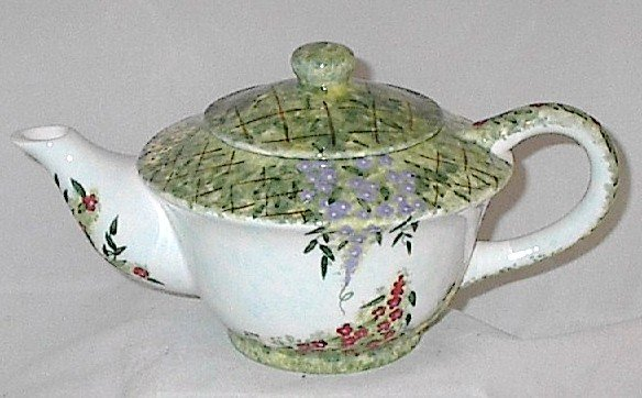 Collector's Hand-painted Porcelain Floral Teapot with Lid