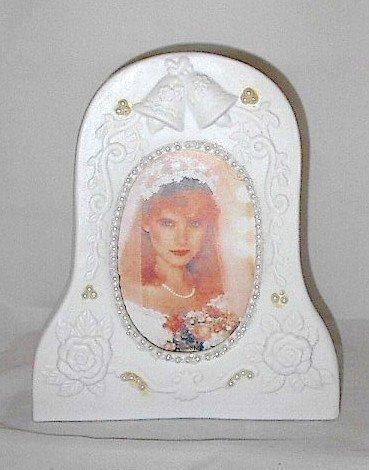 White Porcelain Newlywed Photo Frame