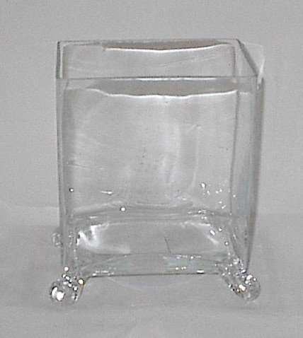 Home Decor Footed Rectangular Glass Vase