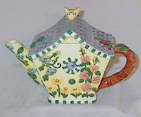 Collector's Hand-painted Porcelain Floral Teapot with Bee Lid