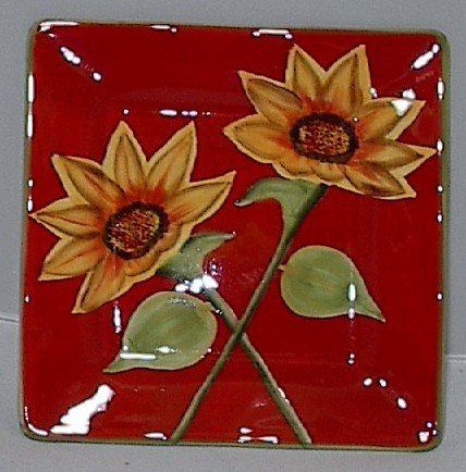 8.5 Inch Square Sunflower Ceramic Serving Tray