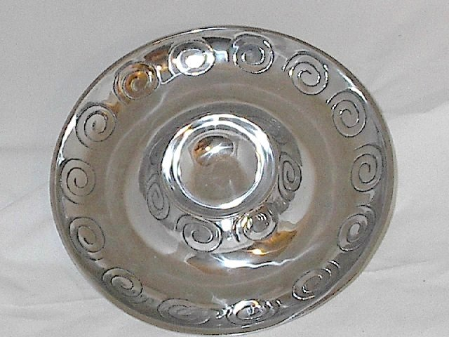 12.5 Inch Round Aluminum Pewter Veggie Chip Dip Serving Tray