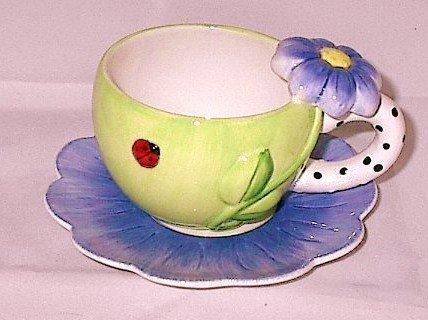 Purple Dazzle Ceramic Cup and Saucer featuring LadyBug