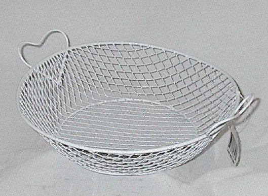 White Wire Heart Handled Basket