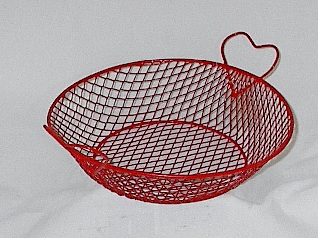 Red Wire Heart Handled Basket