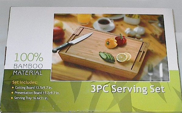 3 pc Bamboo Nested Cutting Board, Presentation Board and Serving Tray