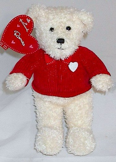 Hallmark Romeo White Plush Teddy Bear with Red Sweater Bow Tie