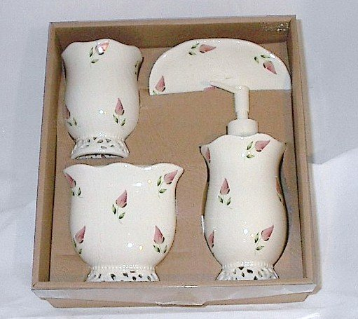 Beautiful Pink Rosebuds Bathroom Vanity 4 Piece Accessory Set