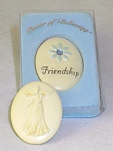 Handpainted Power of Believing 'Friendship' Angel in my Pocket Stone