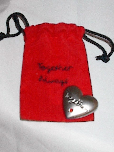 "Pewter Love Token 'Together' in Red Velvet 'Together Always"" Pouch"