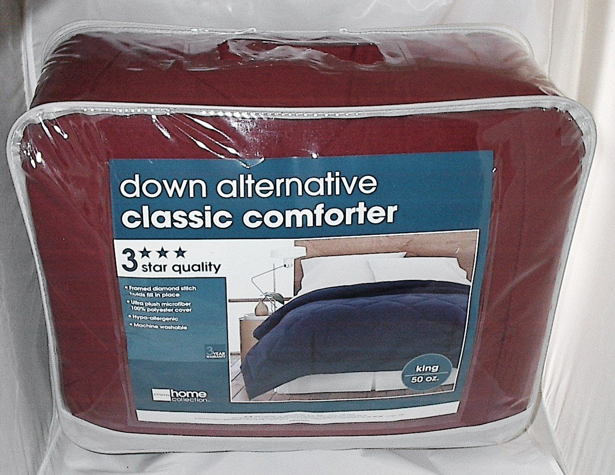 King Size Down Alternative Hypoallergenic Classic Burgundy Comforter