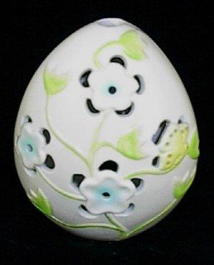 Ganz Ceramic Egg Blue Flowers & Butterfly Tea Light