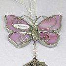 Ganz Silver & Pink 'Welcome' Butterfly Car Charm Ornament