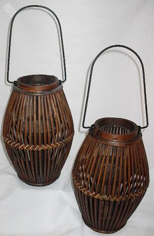 Set of 2 Patio Yard Garden 12 inch Bamboo Lanterns