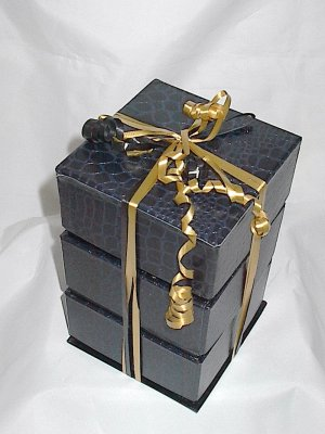 3 Tier Textured Black Gift Box Set Ready to Fill