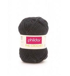 Phildar Phil Crochet Cotton Yarn Noir Black (#0067)