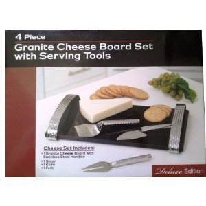 Deluxe Edition: 4 Piece Granite Cheese Board Set ~ Serving Tools Included