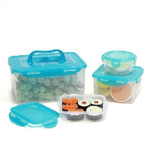 Lock & Lock 8-Piece Lunch Box, 4 Containers, Blue Lid