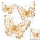 Set of 3 Glorious Gold Christmas Tree Butterfly Butterflies