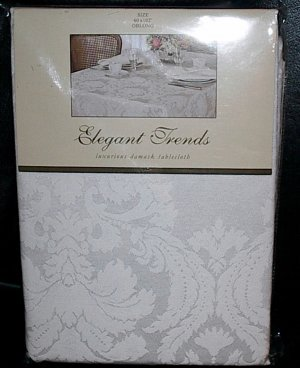 """Elegant Trends Luxurious Damask White Oblong Tablecloth 60"""" x 102"""""""