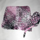 Handmade Knitted Washcloth and Soap Sack Set in Black Cherry