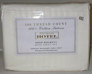 Fine Deluxe Hotel Cotton Sateen 300TC King Size Sheet Set Beige