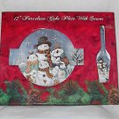 Christmas Porcelain Cake Plate with Server featuring Snowman Family