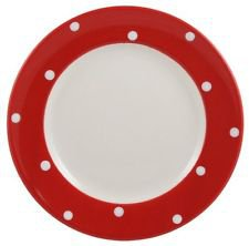 Spode Baking Days Salad Luncheon Plate Red White Polka Dots