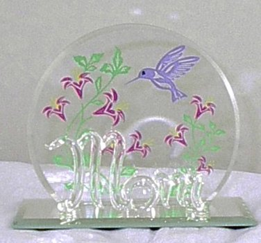 Glass Baron 'Mom' with Hand-painted Hummingbird and Flowers