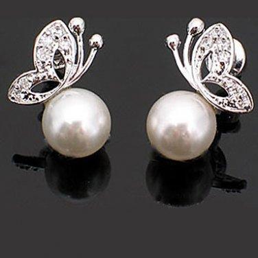 Classic Fashionable Hypoallergenic Pearl CZ Butterfly Stud Earrings 1 Set of 2 Earrings