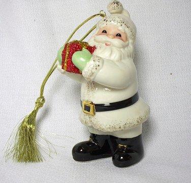 Lenox Porcelain Santa with Red Glitter Gift Ornament