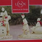 Lenox Mistletoe Park Village Winter Family Fun Snowman Tree Sled New In Box