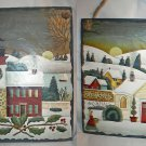 Set 2 Betty Caithness Winter Village Slate Look Plaques