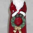 Hand Painted Father Christmas Santa Figurine holding Xmas Wreath