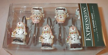 Expressions I Love Winter Primitive Snowman Snowmen Shower Hooks Set of 12